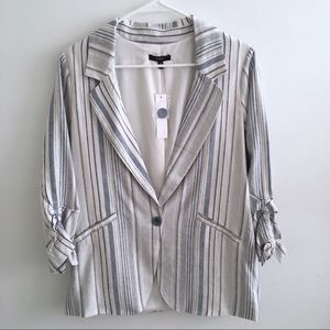 DREW | Neutral Striped Linen Ruched Sleeve Blazer